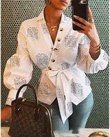 GOocherie Women Bottone Camicetta Camicetta Abbigliamento femminile Manica lunga BlusAS casual da donna Camicette da donna Stampa Lettera Lady OL Top x0521