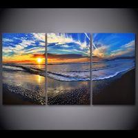 3 PCS HD imprimé plage Waves Dusk Nuages Painting Romes Décor Imprimerie Affiche Picture Toile Lienzos Cuadros Decorativos 6oqi