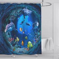 High Quality Ocean Beach Sea Theme Printed Fabric Shower Curtains Bath Screen Waterproof Products Bathroom Decor With 12 Hooks