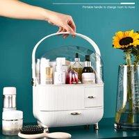 Sacs cosmétiques cas de salle de bains d'armoire anti-poussière de bureau Beauté de maquillage Organisateur Lipstick ongles vernis Afficher le tiroir Grand cas