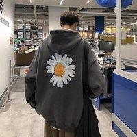 Men's Hoodies & Sweatshirts Mens 2021 Autumn Winter Floral Print Fleece Hooded Men Harajuku Thicken Warm Coats Plus Size Pullovers