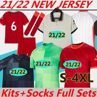 Camisas de Futebol Novo 21/22 versão Torcedor jogador LIvErpooL Camisa 2021 treino Polo Homens Mulheres crianças Kits Meias Conjuntos completos Soccer Jerseys