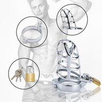 Male Chastity Belt Device Stainless Steel Cock Cage Penis Ring Lock with Urethral Catheter Spiked Ring Sex Toys for Men