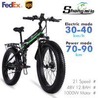 MX01 26 pulgadas Plegable eléctrico 1000w Mountain Bike 4.0 Ciudad Neumático de la ciudad Bicicleta 48V litio-batería shengmilo e-bike