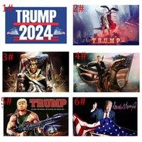2024 Trump Tren Bayrağı 90 * 150 cm Trump Bayraklar ABD Başkanlık Seçimi Trump Afiş Bayrakları 2024 3 * 5ft HHD6554
