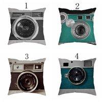 45x45 Cotton Linen Cushion Cover Cartoon Camera Series Office Home Sofa Mat Hold Pillow Case Bedroom Decorative Cushion Decorative