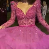 Abito da ballo a maniche lunghe Fushia 2021 Serata abito da festa Abiti Gonna Puffy Gonna Arabia Saudita Arabia Elegante Donna formale Pageant Gala Abiti