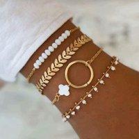 Bloccato, Fili Vintage Boho Moda Geometria Set Braccialetto per le donne Multililevel 2021 Gold Olive Foglia Catena Bianco Bead Pendant Jewelry Regalo