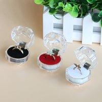 Caja de anillo octagonal creativo Transparente Caja de joyería Caja de cristal Pendientes Pendientes Anillo Empaquetado de visualización transparente