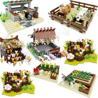 City Pig House Chicken Coop Bullpen Crop Building Blocks Educational Toys Gifts For Children Compatible Cities Accessories Model H0917
