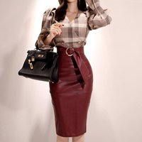 Women's Tracksuits Autumn Flare Sleeve V-Neck Double Breasted Plaid Top Shirt Bodycon Midi Red PU Skirt Two Piece Sets Vintage Office Suit D