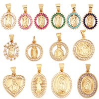 Miraculous Medal Charm Oval Heart Round PendantColour CZ Paved Real Gold Plated Necklace Bracelet Making Finding Supplies
