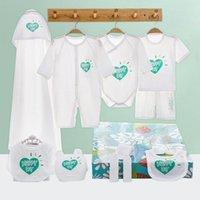 Ensembles de vêtements 11pcs Né Baby Vêtements Ensemble Summer Heart Motif Coton Romper Cadeau Un an Anniversaire pour garçons et filles