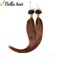 "Micro Ring-Schleife Menschliche Haarverlängerungen 20 ""Gerade brasilianische jungfraues Haar Schussfuß # 4 1g Strang 100g Set Bellahair"