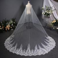 신부 베일 3.8 * 3M 화이트 긴 베일 레이스 가장자리 대성당 결혼 얇은 명주 그물 신부 Voile Mariee Accesories Veu de Noiva Longo