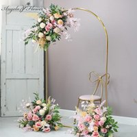 Party Decoration Wedding Arch Props Wrought Iron Round Arc Artificial Flower Frame Geometric Stand Birthday Background Balloon Display