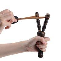 20 cm 8 inç Bambu Stil Ahşap Sling Shot Oyuncaklar Özgünlük Yenilik Oyunları Slinghot Yay Mancınık Avcılık