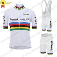 World 2021 사이클링 의류 빠른 단계 저지 세트 줄리안 알파 필리즈 도로 자전거 정장 Maillot Cyclisme 유니폼 레이싱 세트