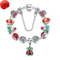 European & American Trendy Christmas Bell Pendant Charm Bracelet Silver Plated Snowflake Bead Red Santa Claus