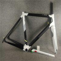 C64 الإطار مات أسود لامع أبيض إيطاليا إطار دراجة الكربون