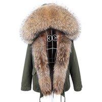 MAOMAOKONG Winter Clothes Women Natural fur coat Real Raccoon Fur Collar Parkas Faux Fur Lining Short Jacket Women Coat 211013