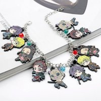 Anime Demon Slayer Kamado Tanjirou Pendant Bracelets Caroon Stove Door Tanjiro Bangles Jewelry Gift For Friends Children Link, Chain