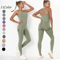 Yoga Outfit Seamless Workout Clothes Cross Back Sports Jumpsuit One-piece Suit Women's Set Sportswear Gym Breathable Absorbent