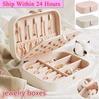 PU Girl Jewelry Box Organizer Travel Jewerly Storage Caja de almacenamiento Doble Layer Collar Anillo Caja Anillo Sundies Organizing Holder Mujeres