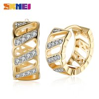 SKMEI Geometric stud Romantic Hoop Earrings For Women Ear Clips Champagne Gold Zircon Wedding Accessories Jewelry Party Gift LKN038