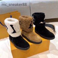 2021 diseñadores botas de nieve mujeres moda piel suave cuero plana chicas casual invierno marrón zapato con piel media bota negro tamaño 35-41