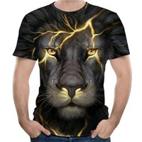Mens Graphic T Shirt 3d Digital Funny T-shirt Boys Diy Streetwear Tees Breathable Casual Tops with Lion Pattern Wholesale Eur Size