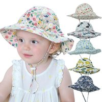 Wide Brim Hats Baby Boys Girl Summer Outdoor Sunscreen Cap Bow Floral Print Foldable Bucket Hat
