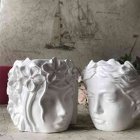 Concrete Human Head Girl Face Vase Cement Silicone Planter Pot Mold Candle Holder Candlestick Flowerpot Making Resin Craft Mould 210722