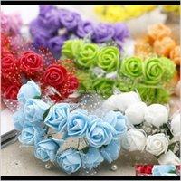 Decorative Flowers Wreaths Festive Supplies Home & Gardenwholesale-12Pcs   Lot Mini Valentine Gift Artificial Silk Rose Lace Foam For Car De