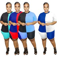 المرأة زائد الحجم S-5XL رياضية ملابس الصيف قصيرة الأكمام تي شيرت + السراويل 2 قطعة مجموعة رياضية البلوز رياضية رياضية أحياء رياضية فضفاضة