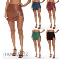 Casual Women High Waist Pu Leather Skirt 2021 Sexy Hip wrap Zippered Slim Side Slit Female