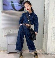 秋の大きな女の子愛の心デニム服セット子供の襟の単一の胸の長袖ショートジーンズ緩いズボン2ピースのファッション子供のカウボーイの服q1810