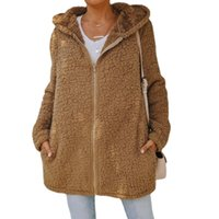 Women's Wool & Blends 2021 Casual Women Winter Imitation Lamb Coat Jackets Zipper Solid Long Sleeve Loose Female Clothes Outerwear Warm Hood