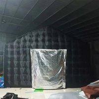 4.8x4.8x3.6 متر أسود مكعب خيمة نفخ كابينة حزب ديسكو الخيام المنحدرة المنزل البالون مع ملصق الباب غطاء