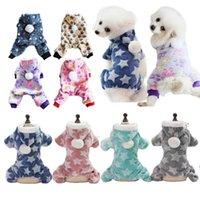 Dog Apparel PAPASGIX 1PC Four-legged Pet Hoodie Cat Dogs Pajamas Jumpsuit Autumn Winter Clothes Fleece Stars Pattern Warm Puppy Costume