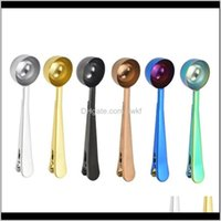 Spoons Flatware Kitchen, Dining Bar Home & Garden2021 Stainless Steel Coffee Measuring With Bag Seal Clip Multifunction Jelly Ice Fruit Scoop