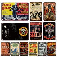 Rétro Johnny Cash Metal Plaque Plaque Vintage Guns N Roses Poster Décoratif Tin Plate Plaque Funny Metal Wall Stickers Bar Accueil Décor