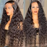 Synthetic Wigs Side Part Long Natural Black Water Wave Glueless Lace Front For Women With Baby Hair Pre Plucked 180% Density