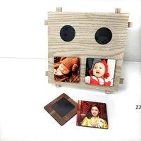 DIY فارغة التسامي اللوح الخشبي لامع الأبيض إطار الصورة لوحة MDF للهدايا مخصصة HWD8943