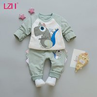LZH Childrens Clothing Sports Suit Autumn New Baby Boys Girls Dinosaur Printting Long Sleeves Pullover 2Pcs Set 1-5 Years 210426