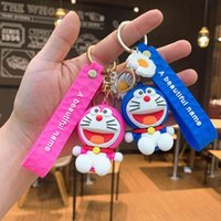 Porte-clés Creative Petit cadeau Couple Couple Joli Silicone Schoolbag Pendentif Ding Dang Cat Sac de voiture Doraemon Pendentif