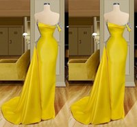 Yellow One Shoulder Mermaid Prom Evening Dress Open Back Beaded Crystal Satin Formal Gowns Elgeant African Women Plus Size Custom Made
