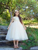 Lovely princess puffy tulle tea length flower girls dresses sequins top zipper back pretty special party gowns