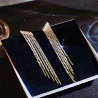 Stud Trendy Luxury Shiny Rhinestone Crystal Long Tassel Earrings For Women Bridal Drop Dangling Party Wedding Jewelry