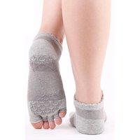 Женские напечатанные силикагель-гель йога носки хлопчатобумажные пальцы открытыми пальцами дозируемые танцы без скольжения пять пальцев палиты спорт MKG809